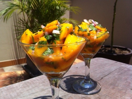 raw food mango ceviche peruvian food